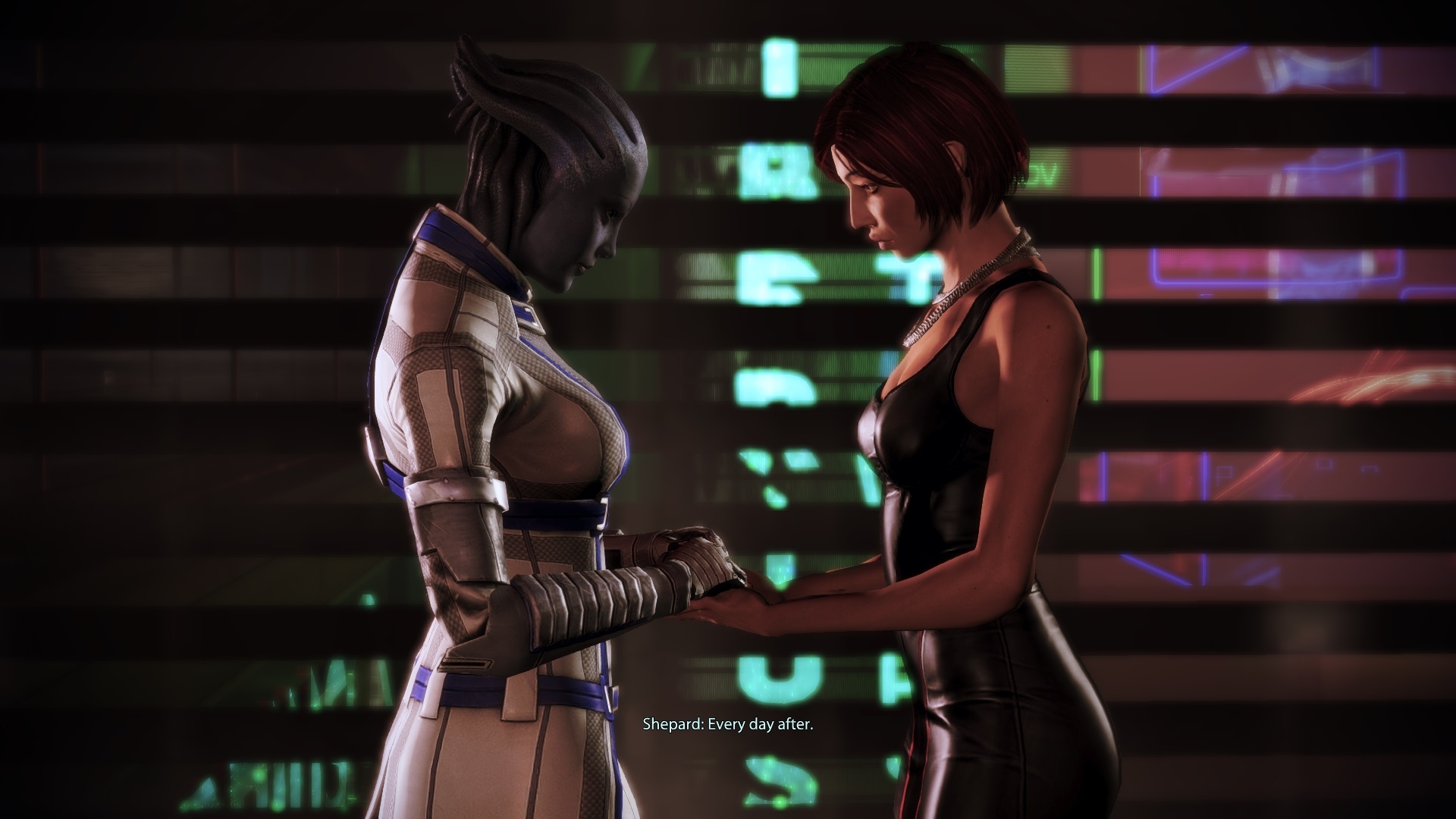 A screenshot of my Shepard and Liara.
